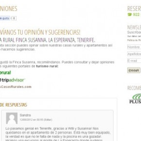 Screenshot Opiniones y Sugerencias Pagina Web Casa Rural